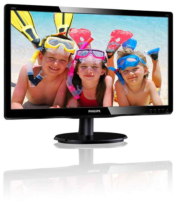 """Монiтор Philips 19.53"""" 200V4QSBR/00 MVA Black - купить в интернет-магазине Анклав"""