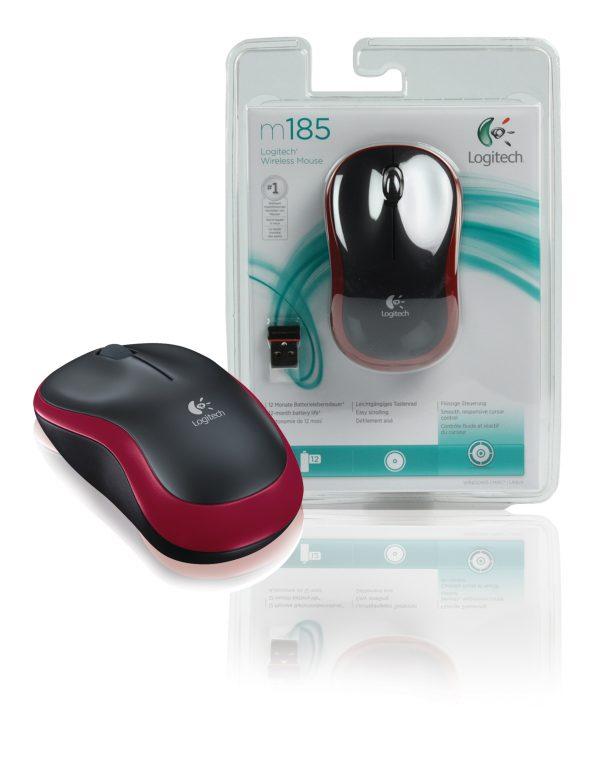 Мишка бездротова Logitech M185 (910-002240) Red USB - купить в интернет-магазине Анклав