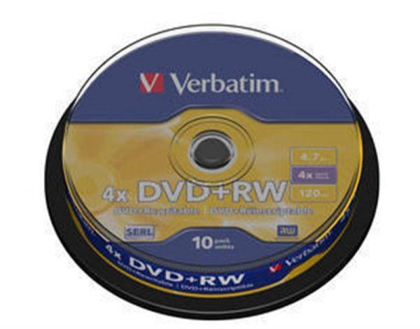 DVD+RW Verbatim (43488) 4.7GB 4x Cake, 10шт Silver - купить в интернет-магазине Анклав