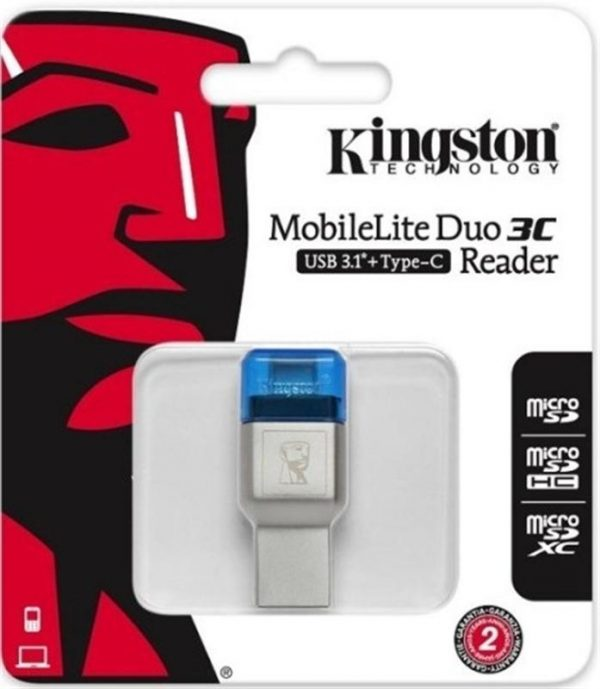 Картридер Kingston MobileLite Duo 3C Dual Interface USB3.1 Type-A and Type-C microSD (FCR-ML3C) Metall Casing - купить в интернет-магазине Анклав