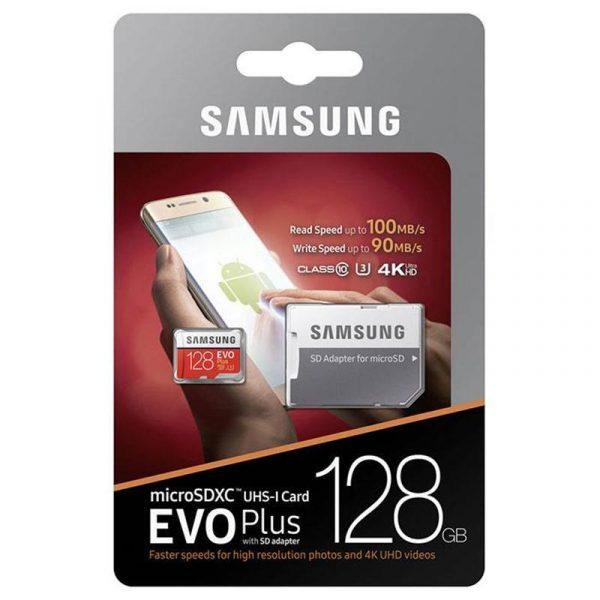 MicroSDXC 128GB UHS-I Class 10 Samsung Evo Plus R100/W90MB/s + SD-адаптер (MB-MC128GA/RU) - купить в интернет-магазине Анклав