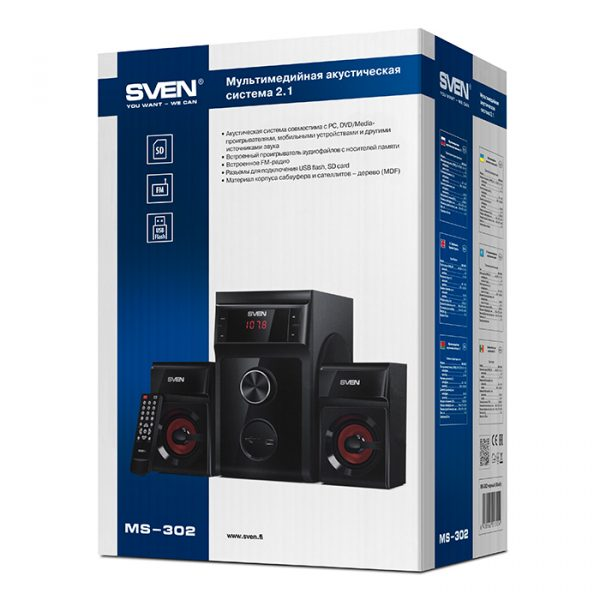 Акустична система Sven MS-302 Black - купить в интернет-магазине Анклав