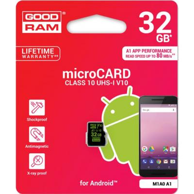 32Gb Goodram microSD class 10 UHS-I V30 (M1A0-0320R11-A1) - купить в интернет-магазине Анклав