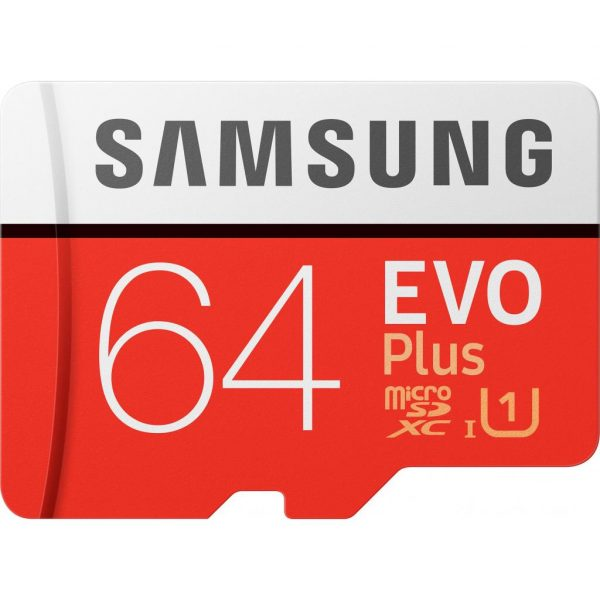 64GB Samsung EVO Plus Class 10 UHS-I + SD адаптер (MB-MC64HA/RU) - купить в интернет-магазине Анклав