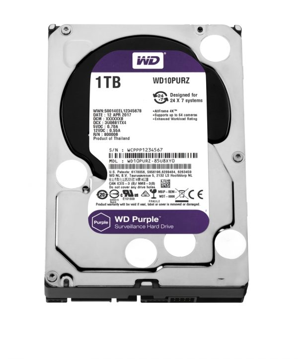 HDD SATA 1.0TB WD Purple 5400rpm 64MB (WD10PURZ) - купить в интернет-магазине Анклав