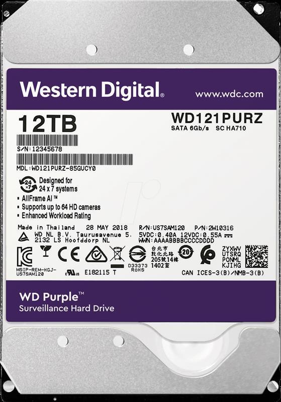 HDD SATA 12.0TB WD Purple 7200rpm 256MB (WD121PURZ) - купить в интернет-магазине Анклав
