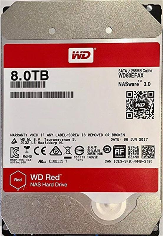HDD SATA 8.0TB WD Red NAS 5400rpm 256MB (WD80EFAX) - купить в интернет-магазине Анклав