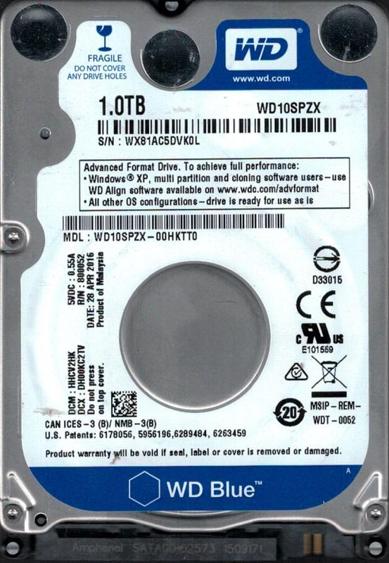"HDD 2.5"" SATA 1.0TB WD Blue 5400rpm 128MB (WD10SPZX) - купить в интернет-магазине Анклав"
