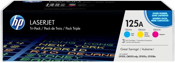 Комплект картриджей HP 125A CLJ CP1215/CP1515 series (CB541A, CB542A, CB543A), CYM (CF373AM) - купить в интернет-магазине Анклав