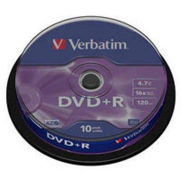 Диски DVD+R Verbatim (43498) 4.7GB 16x Cake, 10шт Silver - купить в интернет-магазине Анклав