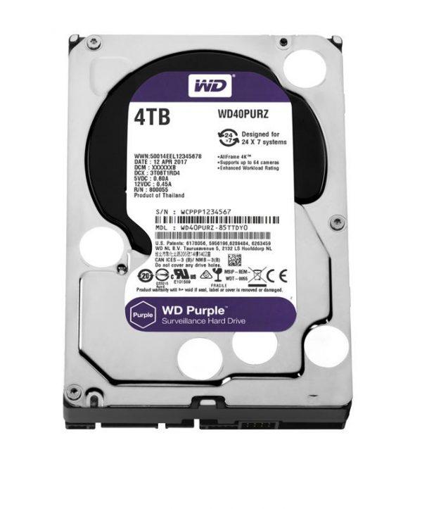 Накопичувач  HDD SATA 4.0TB WD Purple 5400rpm 64MB (WD40PURZ) - купить в интернет-магазине Анклав