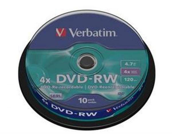 Диски DVD-RW Verbatim (43552) 4.7 GB/120 min 4x (10 pcs Cake Box) - купить в интернет-магазине Анклав