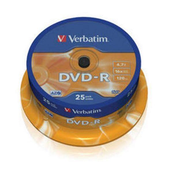 Диски DVD-R 4.7GB Verbatim (43522) Cake Box (25pcs) 16x - купить в интернет-магазине Анклав