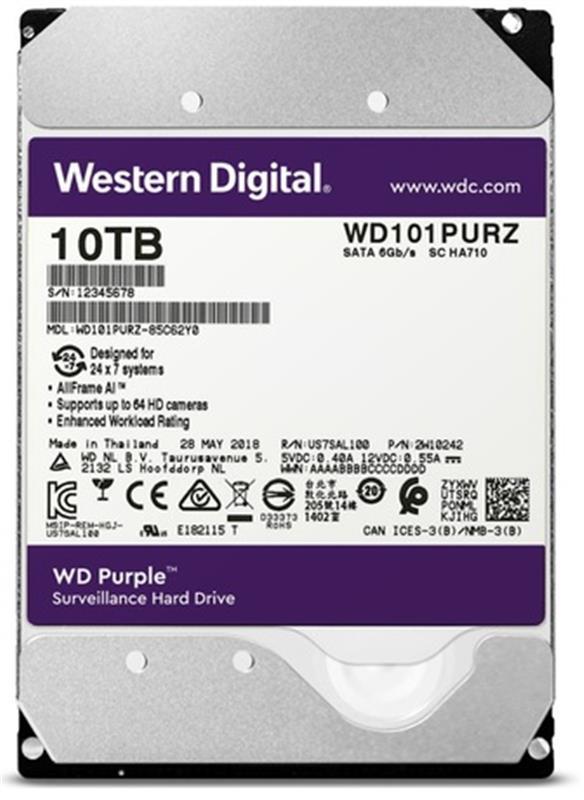 HDD SATA 10.0TB WD Purple 7200rpm 256MB (WD101PURZ) - купить в интернет-магазине Анклав