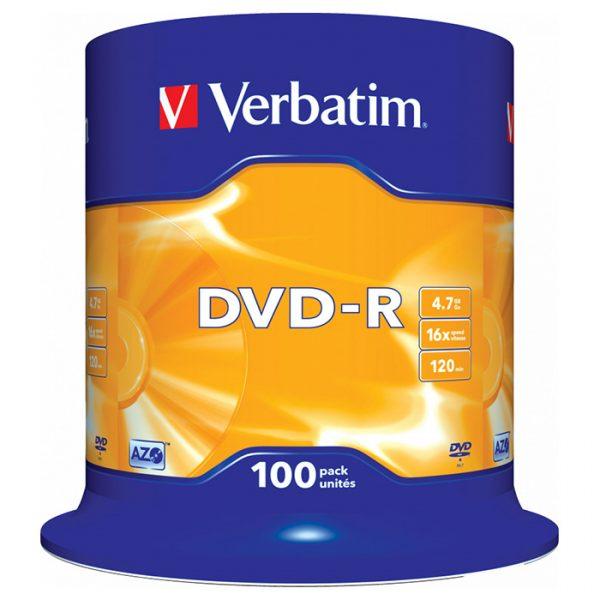 Диски DVD-R Verbatim (43549) 4.7 GB/120 min 16x Matt Silver, 100 pcs Cake Box - купить в интернет-магазине Анклав